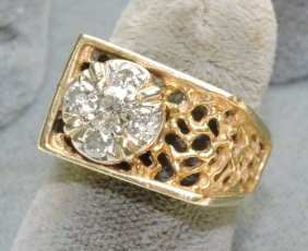 Gent's 14kt Yellow Gold Diamond Ring
