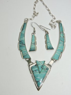 Navajo Indian Sterling & Turquoise Necklace And Earring