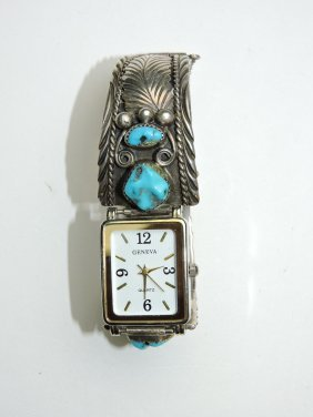 Navajo Indian Sterling And Turquoise Watch