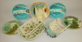 Majolica Lot Of 5 Asparagus Plates, Cradle, And Platter