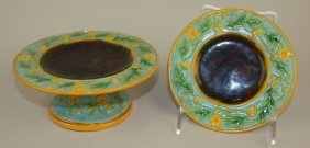 """George Jones Majolica Small Compote And Matching 5 1/4"""""""