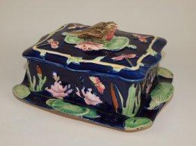 Majolica Cobalt Sardine Box With Bird Finial, Rim Nicks