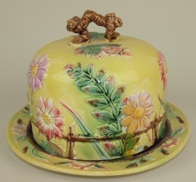 Majolica Daisy And Fence Cheese Keeper