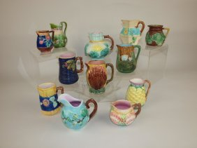 Majolica Lot Of 12 Pitchers & Creamers, Various