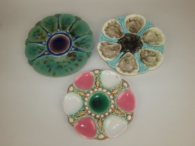 Majolica Lot Of 3 Oyster Plates (minton Style Is