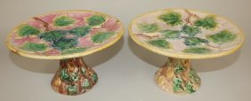 Etruscan Majolica Pair Of Maple Leaf Cake Stands