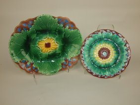 "Wedgwood Majolica Geranium & Wicker Platter 11"" And"
