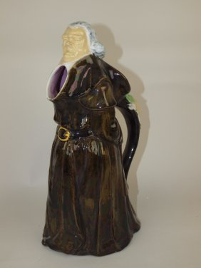 George Jones Majolica Figural Monk Pitcher, 12""