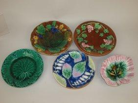Majolica Lot Of 5 Plates