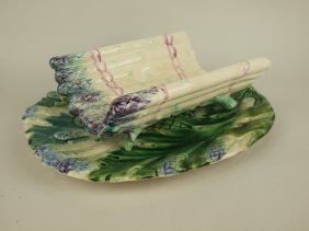 French Majolica Asparagus Platter & Cradle