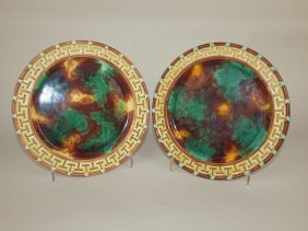 """Wedgwood Majolica Pair Of Mottled 8 3/4"""" Plates With"""