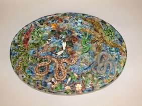Geoffrey Luff Contemporary Palissy Tray With Snakes,