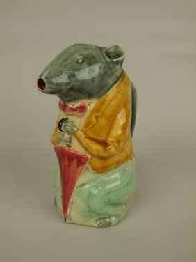 Majolica Frence Majolica Rat Figural Pitcher, From