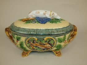 Minton Majolica Gun Dog Game Dish With Gun Dog On Lid,