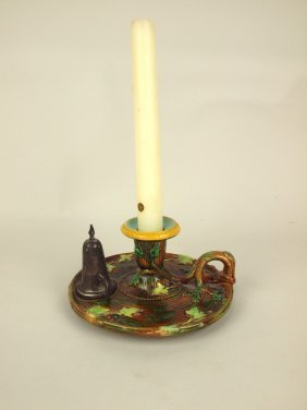 George Jones Majolica Chamber Candle Stick With