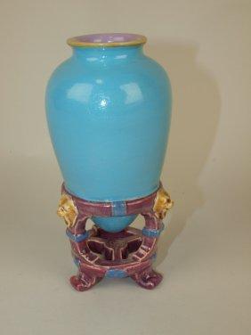 Minton Majolica Amphora Vase, Professionally Restored,