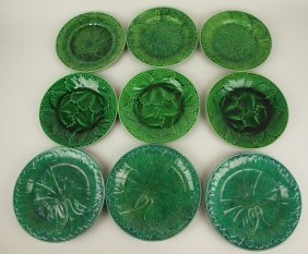 Majolica Dark Green Lot Of 9 Plates, Various Conditions