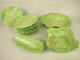 Wanapee Pottery Lettuce Leaf Majolica Lot Of 11