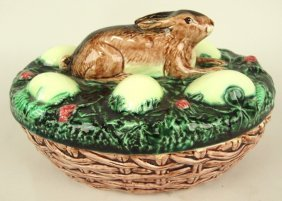 Continental Majolica Game Dish With Rabbit And Eggs On