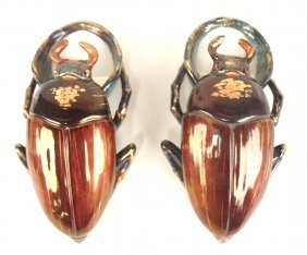 French Majolica Lot Of 2 Beatle Wall Pockets, 8""