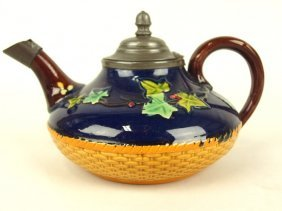 Brownfield Majolica: Ivy And Basket Teapot With Pewter