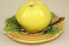 Majolica Apple On Tray Covored Toothpick Holder