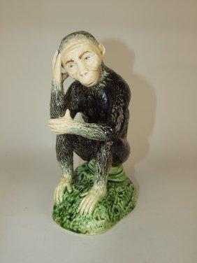 "Majolica Figure Of A Monkey, 8"""