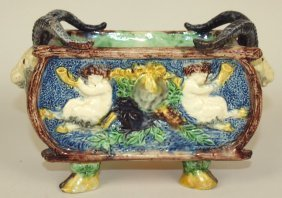 French Palissy Ware Majolica Planter With Putti's On
