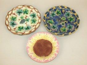 Etruscan Lot: Pink Sunflower Sauce Dish, 2-grape