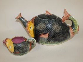 Majolica Fish Swallowing Fish Teapot With Matching