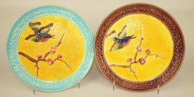 "Eureka Majolica Bird And Branch Pair Of 10"" Plates"