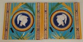"Minton Majolica Pair Of Neo-classical 8"" Tiles"