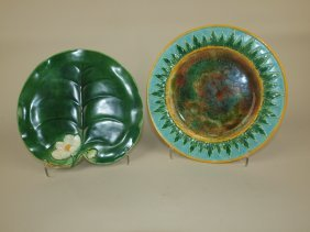 George Jones Pond Lily Plate (repaired) And Acanthus