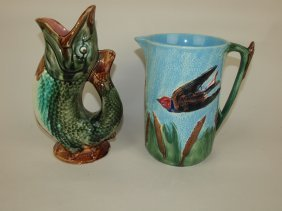 Holdcroft Majolica Pitcher (rim Chip) And Gurgling Fish