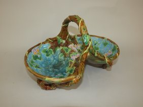George Jones Majolica Two Part Strawberry Basket, With