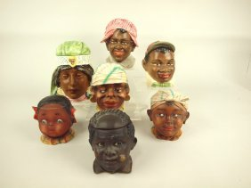 Majolica Blackamoor Lot Of 7 Head Humidors, Various