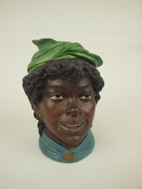 "Terra Cotta Blackmoor Lady Head Figural Humidor, 7"","