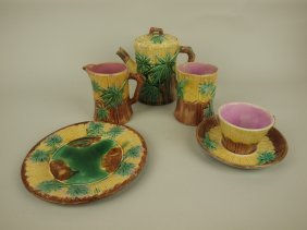 Etruscan Majolica Bamboo Lot Of 5 Pieces, Various