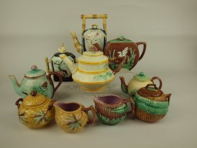 Majolica Teapot, Sugar & Creamer Group: 5 Teapots, 3