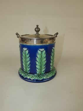 Majolica Cobalt Biscuit Jar With Ferns, Silver Mounted