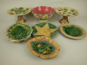 Etruscan Majolica Lot Of 7 Pieces, Various Conditions
