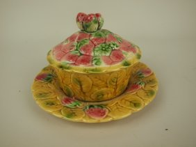 Sarreguemines Majolica Strawberry Butter Dish