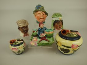 Majolica Lot Of 5 Humidors And One Match Striker,