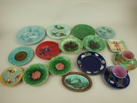 Majolica Lot Of 14 Plates & Saucer Dishes And
