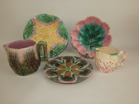 Etruscan Majolica Lot Of 5 Pieces