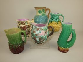 Majolica Lot Of 6 Pitchers