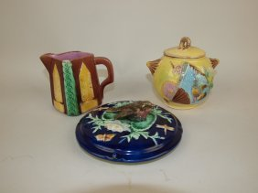 Majolica Sugar, Creamer And Butter Lid