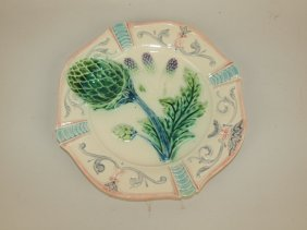 Majolica French Asparagus And Artichoke Plate, 9""