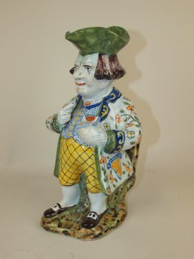 French Faience Multi-color Toby Jug, 11""