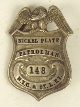 Nickel Plate Railroad Patrolman Badge Nyc&st. Lry